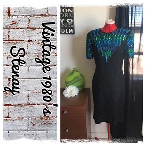 Vintage 1980's Stenay sequins/beaded silk dress