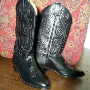 Tony Lama Shoes - Tony Lama Cowgirl Black Leather Boots 10b