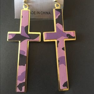 Accessories - Purple Army Fatigue Cross Earrings