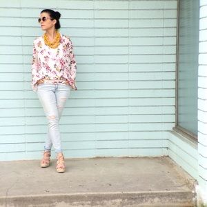 Bell Sleeve Pink Floral Wrap Top