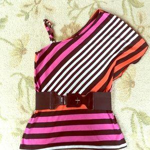 A. Byer Tops - One Shoulder Stripped Shirt & Belt. Asymmetrical