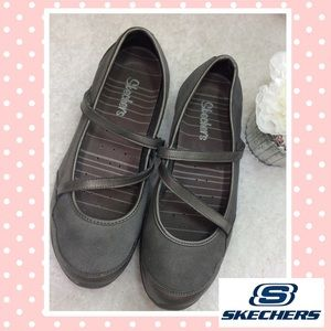 Skechers Shoes - Skechers grey suede & metallic leather Mary Janes