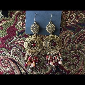 Curvy Couture Jewelry - Boho Style Chandelier Gold Ruby Red Earrings NWT