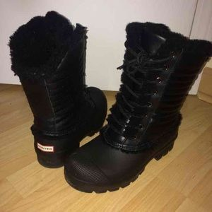 Hunter black winter boots