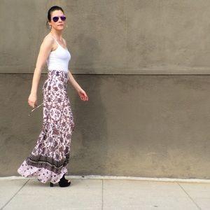 Cursing Ballerina Dresses & Skirts - Tie-Side Blush Pink Floral Maxi Skirt