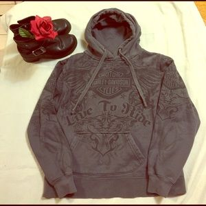 Harley-Davidson Tops - Harley Davidson LIVE TO RIDE Gray Hoodie Crete, IL