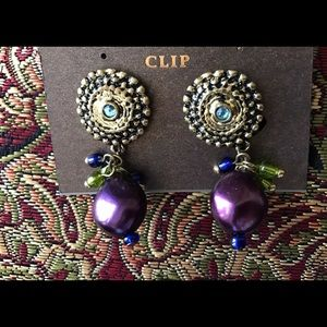 Curvy Couture Jewelry - 🐣🐣Clip On Boho Crystal Pearl Colorful Earrings