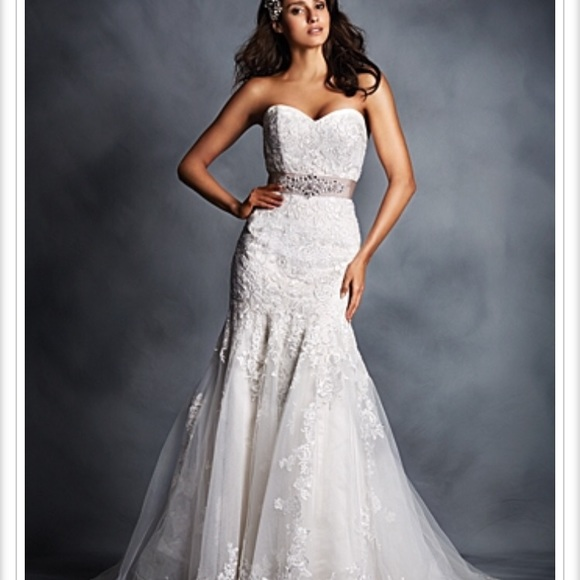 Alfred Angelo Dresses | Crystal Beaded Sash Fit Flare Wedding Gown ...