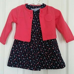 CARTER'S Floral dress with matching cardigan