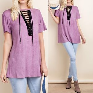 Pink Peplum Boutique Tops - 🆕ARRIVAL! Mineral wash oversize lace up neck top