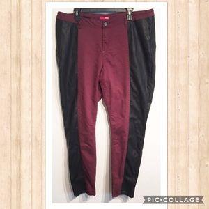 BONGO Pants - Bongo Plus Size Maroon Faux Leather Stripe Pants
