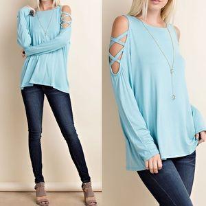 Pink Peplum Boutique Tops - 🆕 Cold shoulder top criss cross split arm details