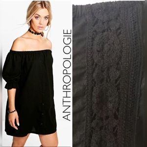 Anthropologie Crochet Lace Off Shoulder Dress