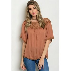Tops - Light Brown Crochet Tunic