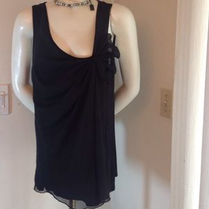Olivia Moon Tops - BLACK TOP WITH CHIFFON AND DESIGN ON FRONT FUN TOP