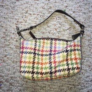 Coach tattersal hampton wool tweed hand purse! 