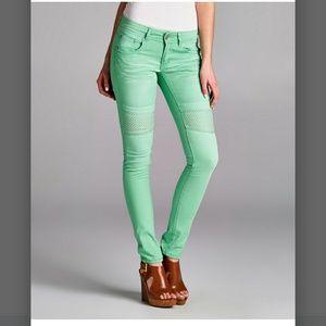 Paoloni Denim - Stud accent mint colored moto jeans
