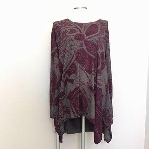 Soft Surroundings Sweaters - Soft Surroundings burgundy grey knit plus tunic 1X