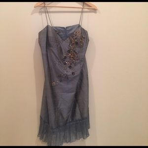MUSE Blue silk dress beaded detail stunning