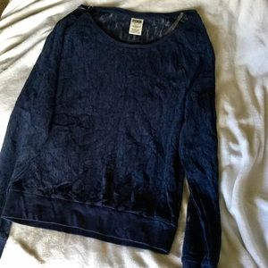 PINK Victoria's Secret Navy lace LS top