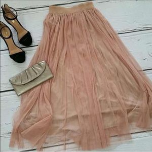 HP! 🏆 Dusty Rose Mauve Tulle Maxi Tutu Skirt