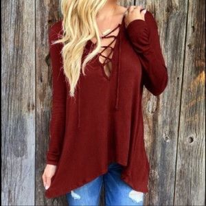 Tops - Burgundy hooded shirt