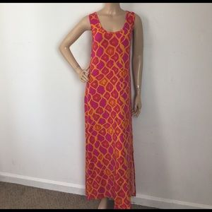 Hatley Dresses & Skirts - Ikat Printed Orange Pink Maxi Split Side Dress