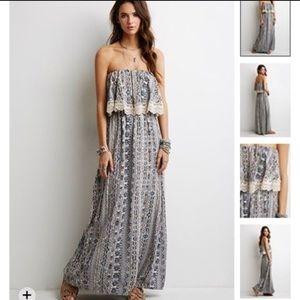 F21 Printed Maxi Dress