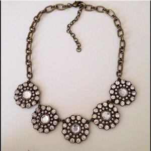 Crystal floral circle statement necklace