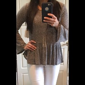 Altar'd state robbed grey peplum top NWT