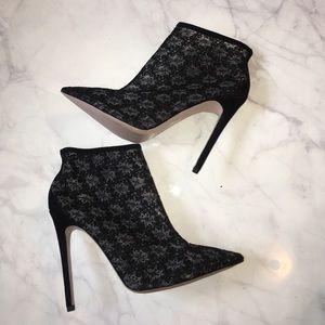Little Mistress Shoes - Black Lace Booties