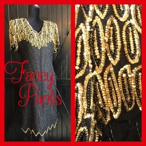 Vintage Gold & Black Beaded Dress