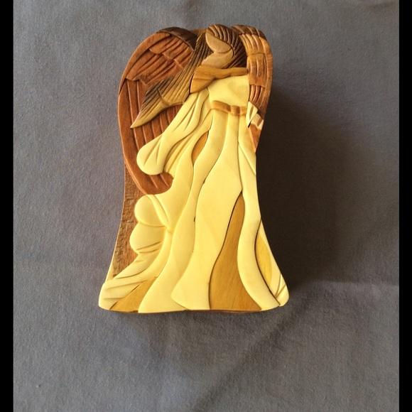 Sale Hand Carved Wood Angel Trinket Puzzle Box