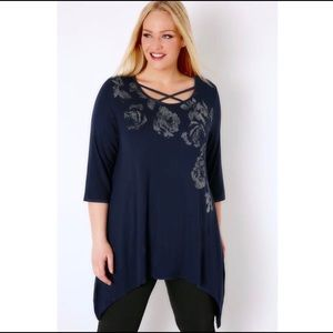 Yours Clothing Tops - Navy Foil Floral Print Top With Cross Neck