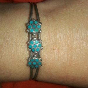 Zunie Other - Zuni native cuff turquoise sterling silver flower