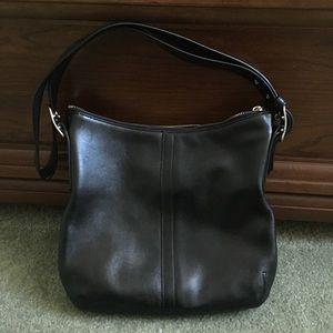 Medium black leather coach bag