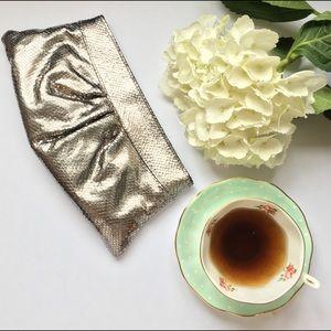 Lauren Merkin Handbags - Lauren Merkin Metallic Silver Evening Prom Clutch