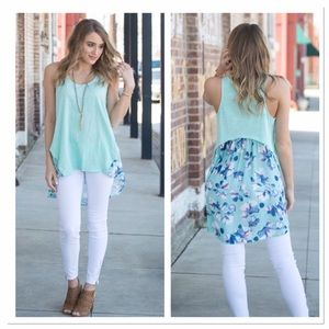 Infinity Raine Tops - Mint Floral high low Tunic