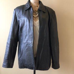 casual corner Jackets & Blazers - Genuine leather zipped jacket