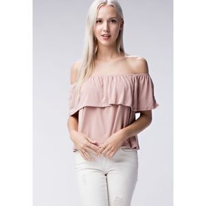 Honey Punch Tops - NEW! Off The Shoulder Modal Knit Blush Top