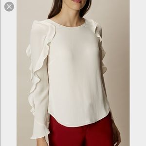 Karen Millen Fluted Ruffle Blouse-White