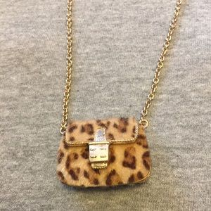 Jewelry - Leopard & Gold Purse Charm Necklace