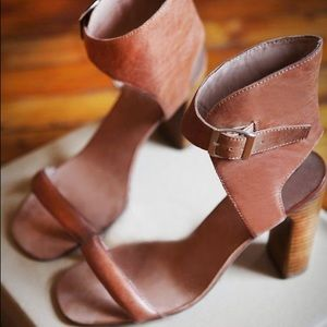 Anthropologie Shoes - Jeffrey Campbell brown ankle strap heels size 7