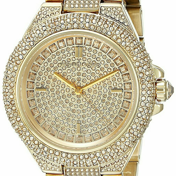 b588ae2ba625 Michael Kors Womens Camille Crystal-Covered Gold-T