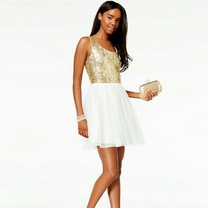 B Darlin Dresses & Skirts - B Darlin Sequined Pleated A-Line Dress