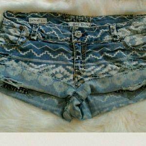 Hot Kiss Pants - Aztec Distressed Cut Off Jean Shorts
