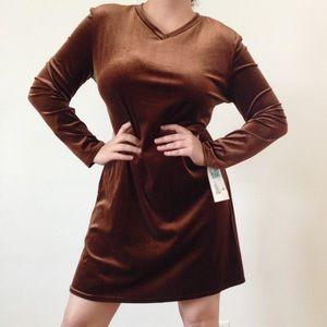 Vintage copper velvet short dress