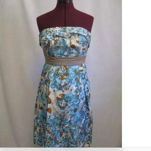 BCBG Paris Silk Floral Ruffled Front Dress D246