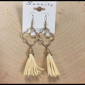 Gold and pearl tassel earrings