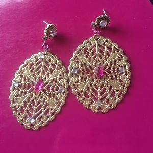 gold, pink and white diamond dangle earrings